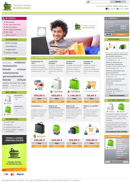 Diseño de template para tienda virtual basada en PrestaShop